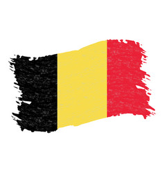 Flag of belgium grunge abstract brush stroke vector
