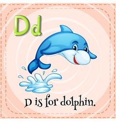 Flashcard letter D is for dolphin vector image