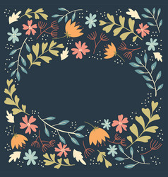 Folk flowers frame vector