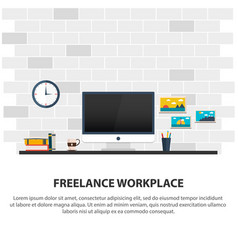 Freelance workplace minimalist workplace vector