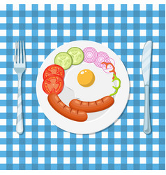 fried eggs and sausages on a white plate vector image