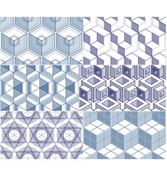 geometric 3d lines abstract seamless patterns set vector image