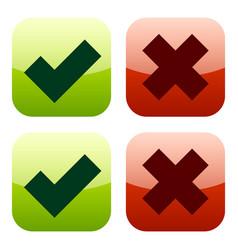 glossy modern icons bold checkmark and cross set vector image