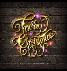Golden inscription merry christmas vector