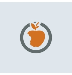 Gray-orange Bitten Apple Round Icon vector image vector image
