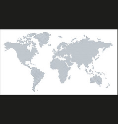 Grey world map radial dot pattern style vector