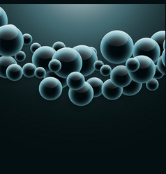 Group of molecules floating in dark background vector