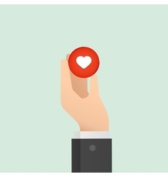 Hand and heart Medical concept Like button Flat vector image