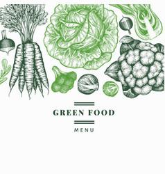 Hand drawn sketch vegetables design organic fresh vector
