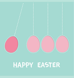 happy easter text hanging pink painting egg set vector image