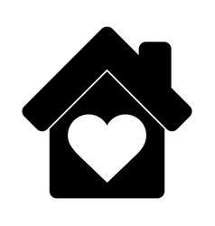 House love heart together pictograph silhouette vector