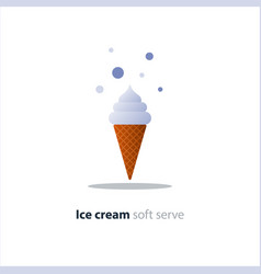 Ice cream cone one white ball cool refreshing vector