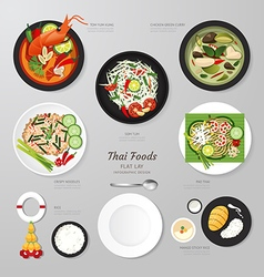 Infographic Thai foods business flat lay idea hips vector