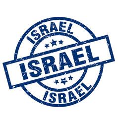Israel blue round grunge stamp vector