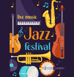 jazz festival live music retro poster with musical vector image