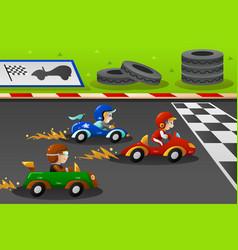 Kids in a car racing vector