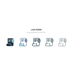 Law paper icon in different style two colored vector