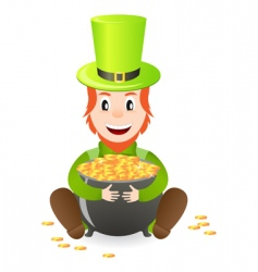 leprechaun with treasure vector image