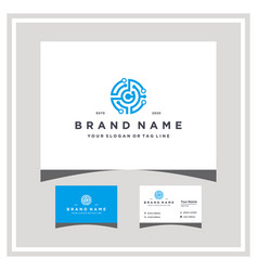 Letter c tech logo design and business card vector