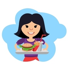 Little girl with fast food in his hands vector