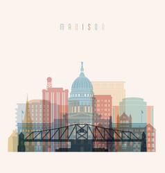Madison state wisconsin skyline silhouette vector