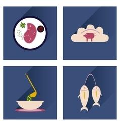 Modern flat icons shadow ukrainian cuisine vector