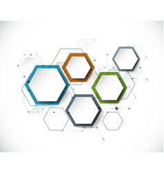 Molecule with 3d paper label integrated hexagon vector