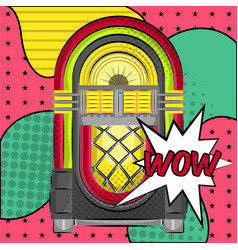Neon jukebox on a halftone background vector