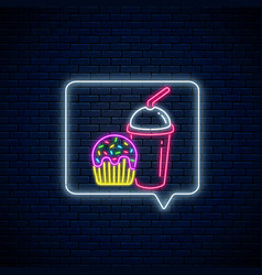 neon sign glazed cake and smoothies cup in vector image