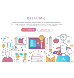 Online internet education in trendy flat gradient vector