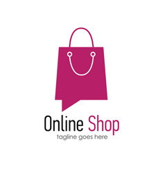 Online shop logo design template vector