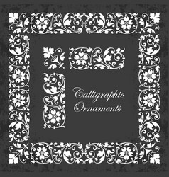 Ornamental corner borders and frames on chalkboard vector