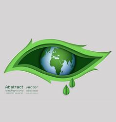 paper art design of green nature concept vector image