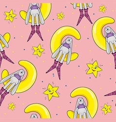 Pattern with a rabbit and a star on pink vector