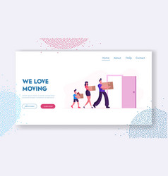 people relocation website landing page happy vector image