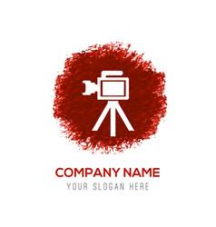 Photo camera icon - red watercolor circle splash vector