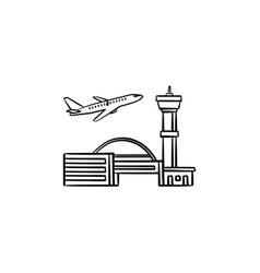 plane taking off at the airport hand drawn outline vector image