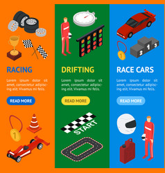 Racing sport banner vecrtical set isometric view vector