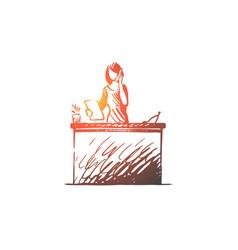 salon reception spa woman call concept vector image