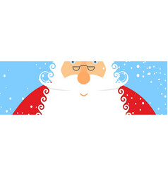 Santa claus and snow portrait of grandfather vector