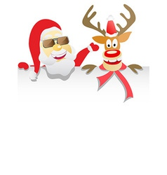 Santa Clause and Reindeer Rudolph Holding Blank vector