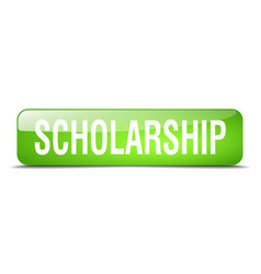 Scholarship green square 3d realistic isolated vector