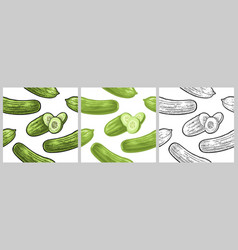 seamless pattern fresh green cucumbers isolated vector image