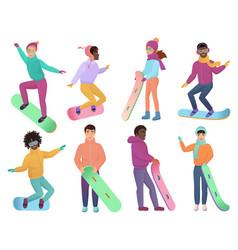 set cartoon gradient color snowboarders vector image