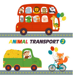 Set isolated transports with animals part 2 vector
