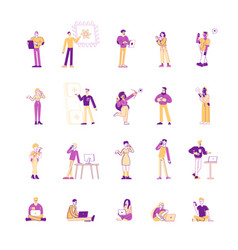 set men and women using mobile phones and vector image