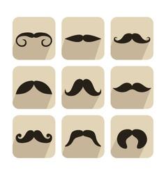 Set mustache icons vector