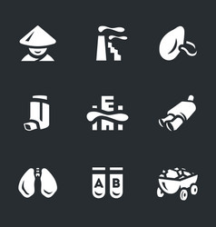set of air pollution in china icons vector image