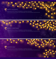Set of banners with festive glowing garlands vector