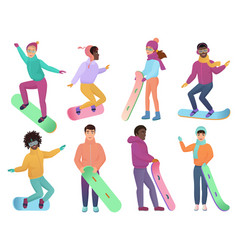 Set of cartoon gradient color snowboarders vector